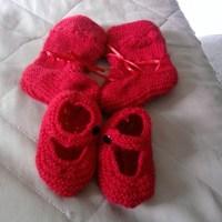Combo Sapatinho de trico vermelho