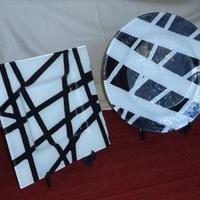 Conjunto bandejas listradas brancas e pretas