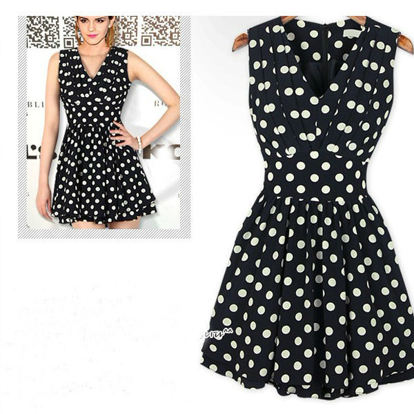 Vintage polka dot fold skirt slim v neck sleeveless dress wf 3967