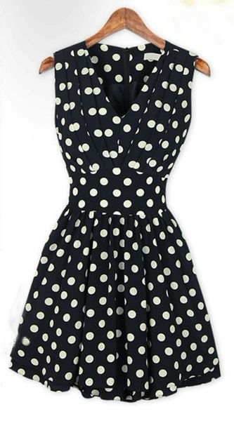 Vintage polka dot fold skirt slim v neck sleeveless dress wf 3967 %283%29