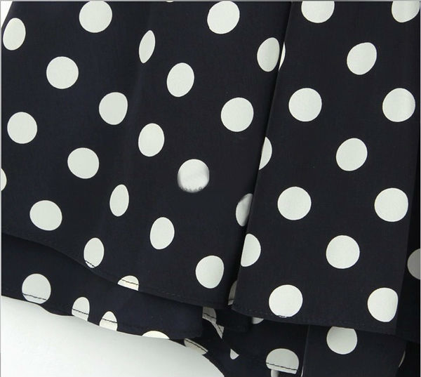Vintage polka dot fold skirt slim v neck sleeveless dress wf 3967 %281%29