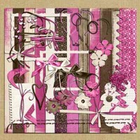 Kit Para Scrapbook Digital #039 (rosa E Marrom)