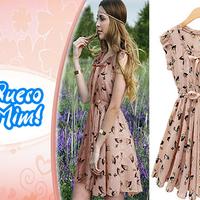 Vestido de Chiffon Retrô estampa Bambi