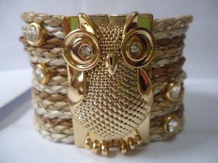 Bracelete coruja em tons de bege 1371034002081 big