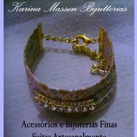 Bracelete Couro Strass
