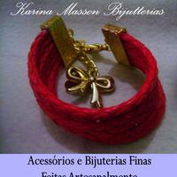 Bracelete Couro Vermelho