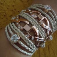 Bracelete Marfim duo em metal rosé gold