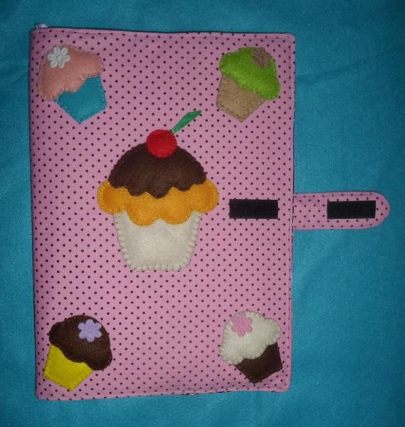 Capa de caderno cupcake