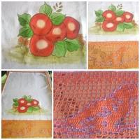 Panos de pratos com pintura e crochêr