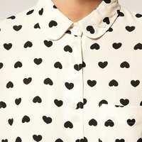 Camisa Chiffon com Estampa de Corações