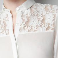 Camisa Branca ou Preta de Seda e Renda nas Costas e  Ombros