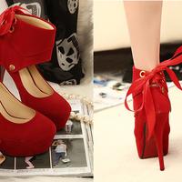 Sapato Vermelho Camurça Dois em Um com Laço Salto 13cm