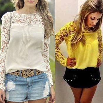 Blusas feminina 2015 novo estilo de rendas casuais mulheres chiffon blusa ladies tops tr%c3%aas cores plus.jpg 350x350