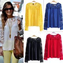 11 cores 8 tamanhos novo 2014 moda feminina rendas emboridery chiffion blusas manga lindo camisas de.jpg 220x220
