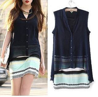2015 women summer dress new hot chiffon fake two piece chromatic stripe casual dress fashion cozy