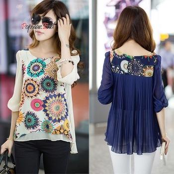 2014 nova primavera ver%c3%a3o chiffon blusa mulheres moda casual shirt tops soltos plissados retro imprimir blusa.jpg 350x350