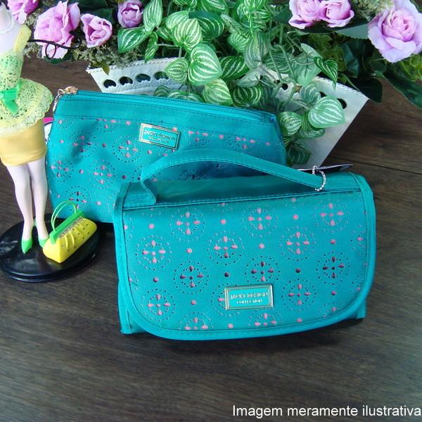 Necessaire feminina verde maleta