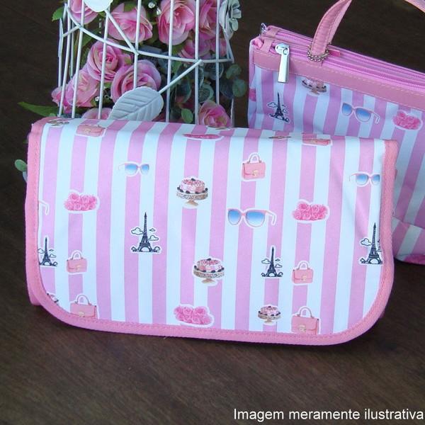 Necessaire yasmin branca e rosa maleta