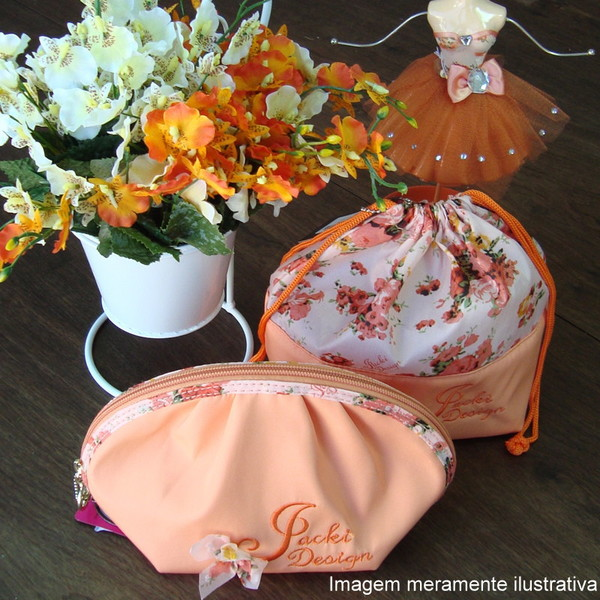 Necessaire jacki design laranja maleta