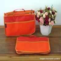 Organizador de bolsa laranja com divisórias