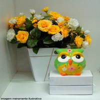 Cofre coruja Verde com flor