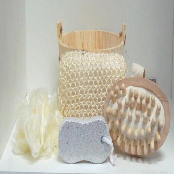 Kit para banho com 4 pecas kit de madeira