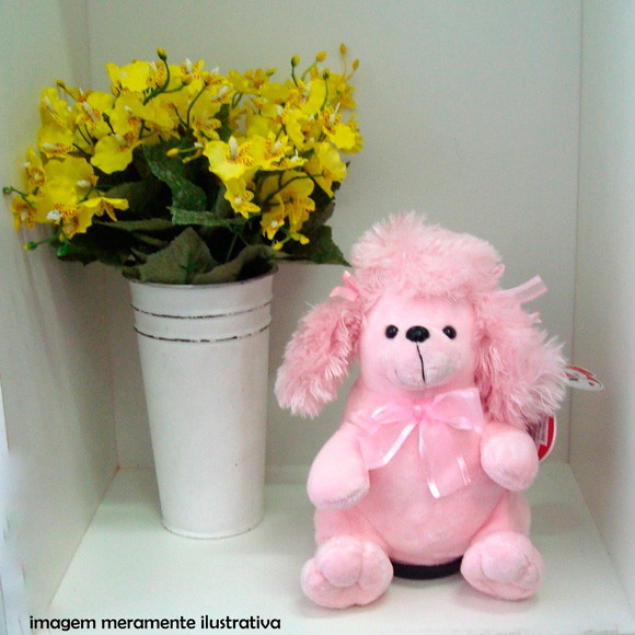 Cofre musical pelucia de cachorro rosa cofre diferente