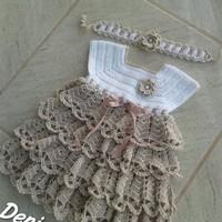 Vestido de croche com Faixa de cabelo