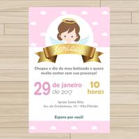 Convite digital Batizado - Menina