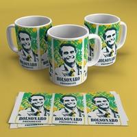 """Caneca cerâmica """"Bolsonaro Presidente"""" (cód. 3629)"""