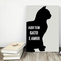 """Placa decorativa MDF """"Aqui Tem Gato e Amor"""" (cód. 3605)"""