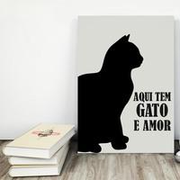 """Placa decorativa MDF """"Aqui Tem Gato e Amor"""" (cód. 3606)"""