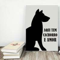 """Placa decorativa MDF """"Aqui Tem Cachorro e Amor"""" (cód. 3607)"""