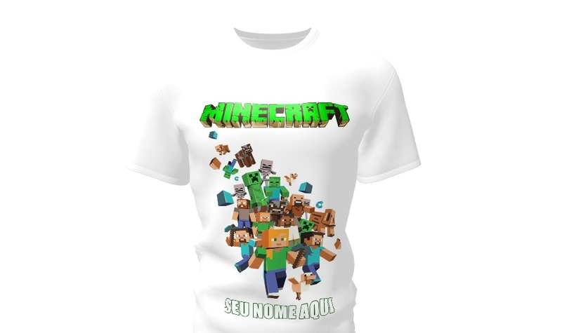 e7347bb1d Camiseta Camisa Blusa Personalizada Minecraft