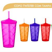 Copo de Acrílico Twister (Com tampa e canudo)