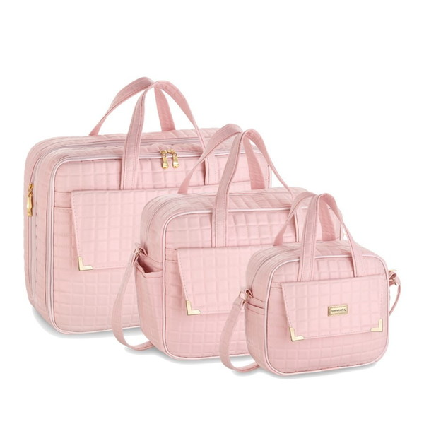 Kit bolsas 3 pecas perola rosa maternidade