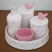Kit de higiene em Louça (5 pç) - Pássaro