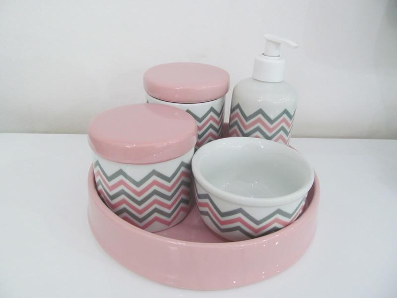 Kit de higiene em louca 5 pc chevron decoracao