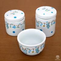 Kit de higiene em Louça (3 pçs) - Urso Varal azul