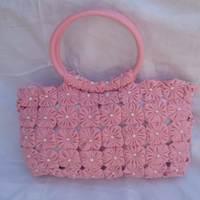 Bolsa porta bíblia de fuxico rosa