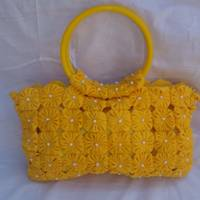 Bolsa porta bíblia de fuxico  amarelo