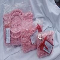 Kit de bolsas de fuxico rosa
