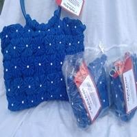 Kit de bolsas de fuxico azul