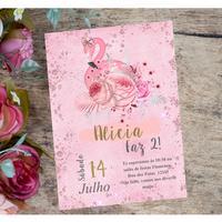 Convite Flamingo editável