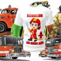 Camiseta Camisa Blusa Personalizada Infantil Bombeiro