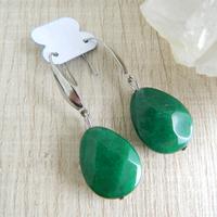 Brinco Pedra Ágata Verde Aço Inoxidável